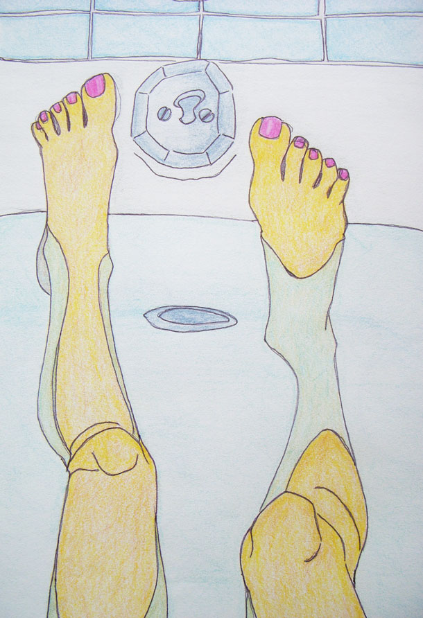 bathtub pen + pencil illustration