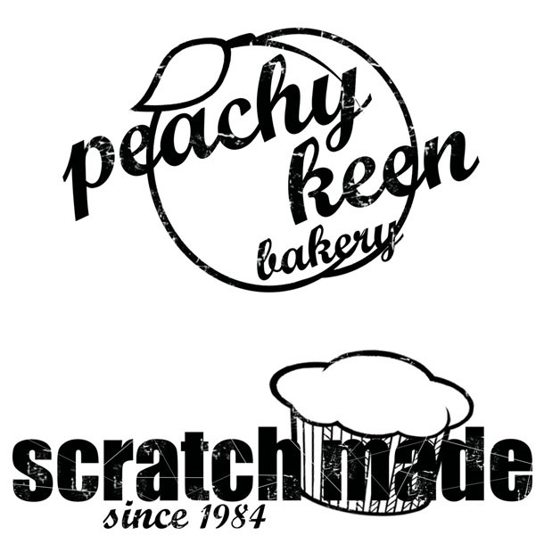 peachy keen bakery logo + t-shirt design