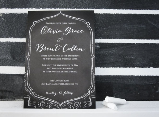 hand-drawn chalkboard wedding invitation design