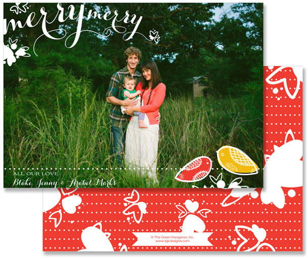 merry birds photo holiday card stationery design